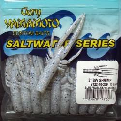 """3"""" Yamamoto Saltwater Shrimp #239 Blue Pearl/ blk & hologram flk"""