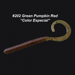"""Curly Tail Worm 4'' col.202 Green Pumpkin Red """"Color Special"""""""