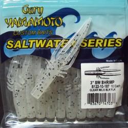 "3"" Yamamoto Saltwater Shrimp #187 Clear w/ lg Black flk"