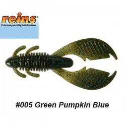 """Reins AX Craw 3.5"""" #005 Green Pumpkin Blue"""